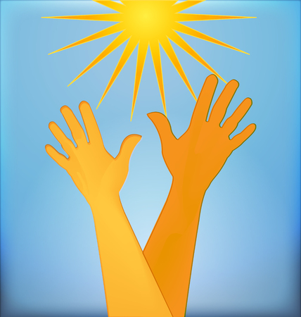 Hopeful hands background Vector