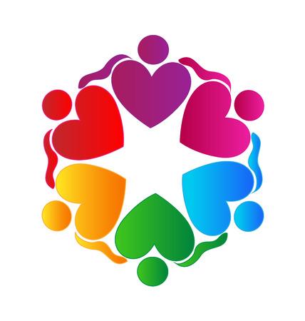 identidad cultural: Trabajo en equipo corazones abrazan icono de la gente