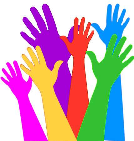 Hands expressions in vivid colors Ilustração