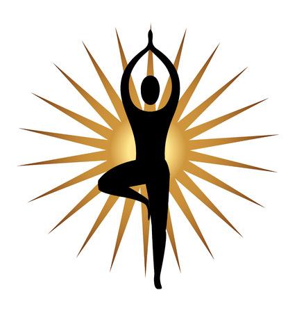 Yoga meditation pose and gold sun icon Illustration