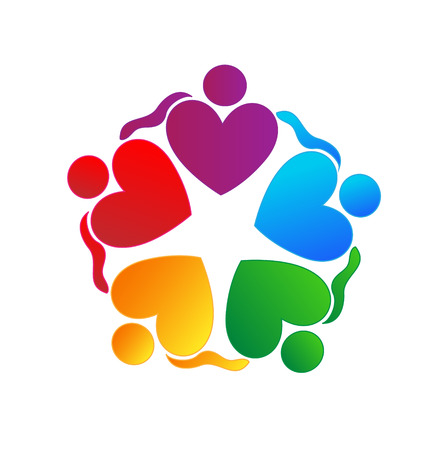 Teamwork hearts hugging people  Vector