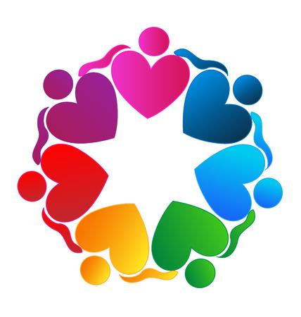 Teamwork harten knuffelen mensen pictogram Stockfoto - 26495595