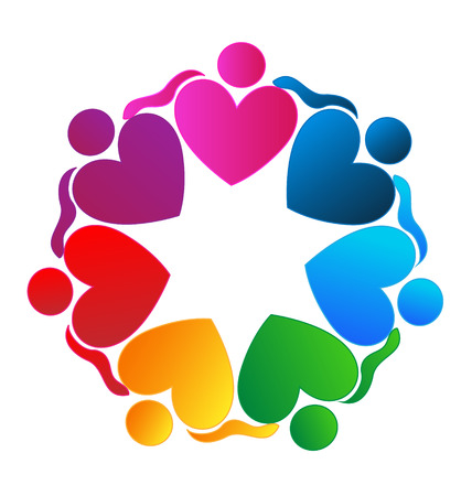 together voluntary: Teamwork hearts hugging people icon