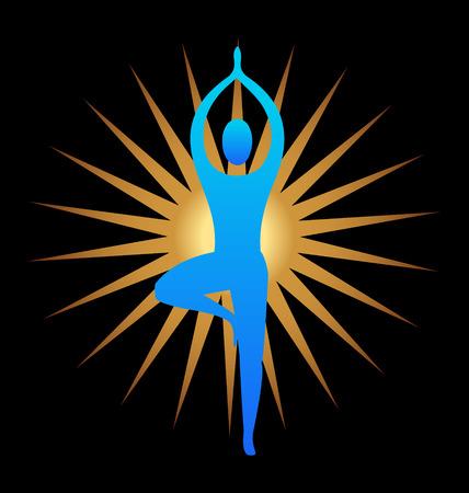 inhalacion: Actitud de la yoga y el sol de fondo de oro Vectores