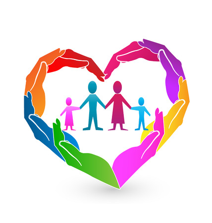 Family heart hands icon Vector