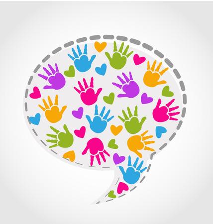 Niños ayudando: Manos del habla y corazones icono