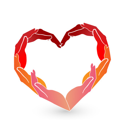 Red heart hands icon