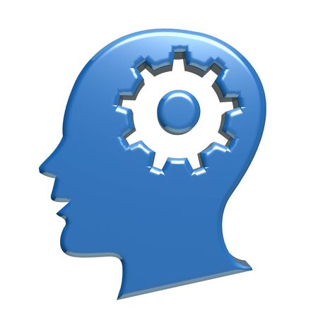 head gear: Human head blue gear 3d image Stock Photo