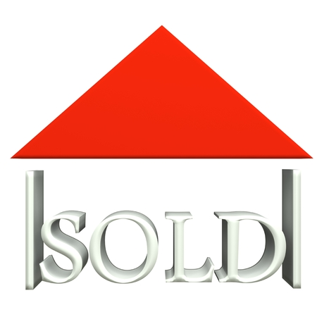 real estate sold: Real estate business card 3d icon  Stock Photo