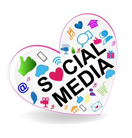 Les médias sociaux coeur icône vecteur