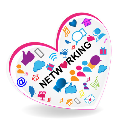 vector images: Network business heart icon vector
