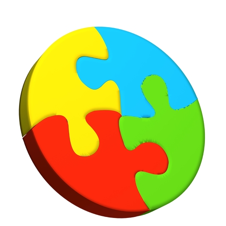 jig saw puzzle: Puzzle circle in vivid colors 3D icon