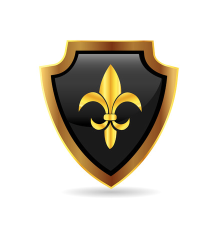 Shield gold emblem with fleur de lis icon vector