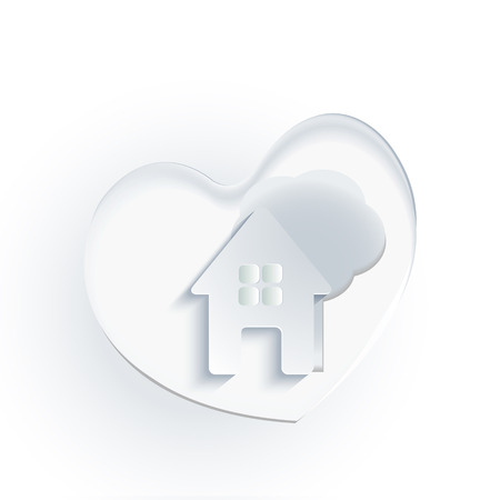 Real estate white house heart and tree vector Vector
