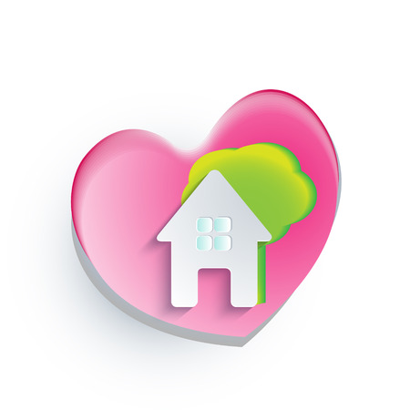 Real estate house heart and tree vector Vector