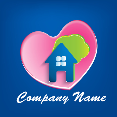 Real estate house heart and tree company vector Vector