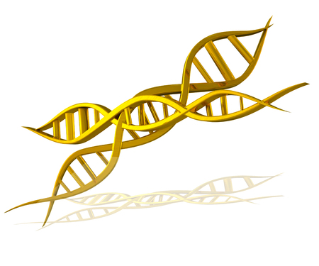 DNA gold icon 3D image photo