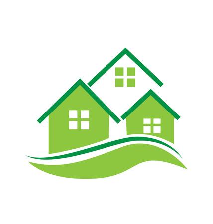 townhouses: Casas verdes del icono del vector