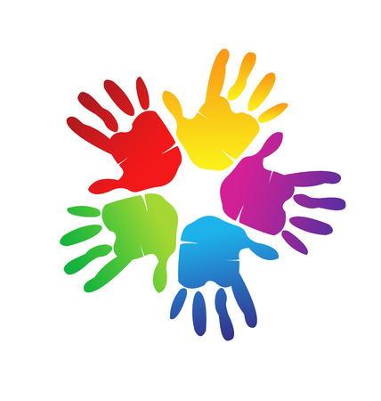 regenbogen: Handen die een gelukkig gezin, liefde en steun Vector symbool Stock Illustratie