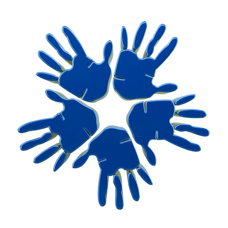 Hands success blue 3D icon  photo
