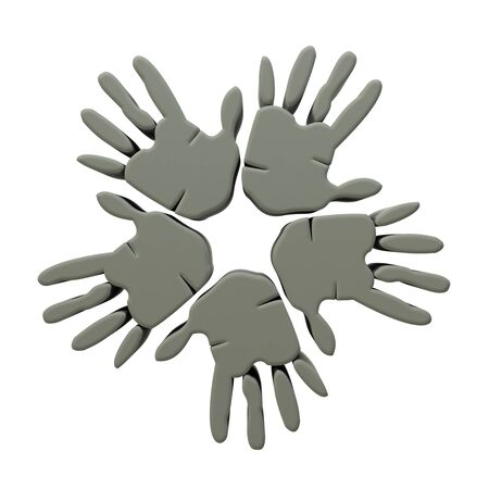 Hands success grey 3D icon  photo