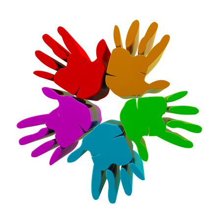 Hands success rainbow 3D icon  photo