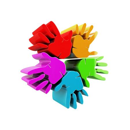 Hands success colorful 3D icon  photo