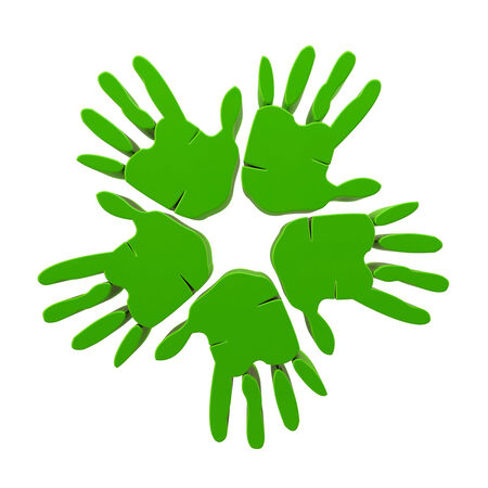 Hands success green 3D icon
