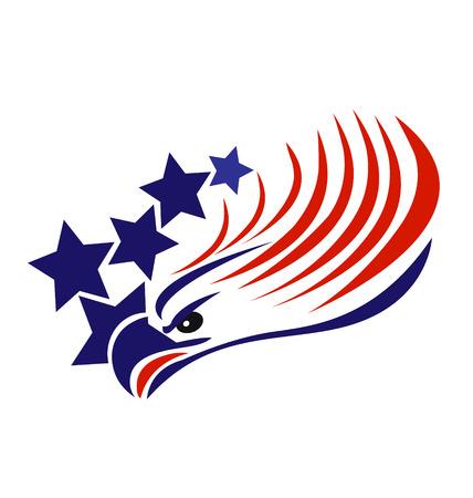 愛国心: 白頭鷲米国旗のベクトル
