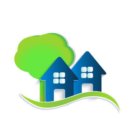 Houses tree and waves icon vector