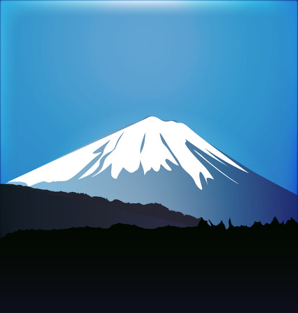 Mount Fuji and Aokigahara forest graphic vector Çizim