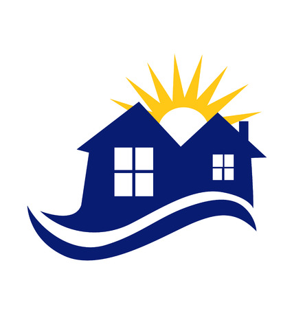 Houses sun and waves icon vector Illustration