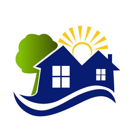 townhouses: Casas en los �rboles de sol y olas de iconos de vectores