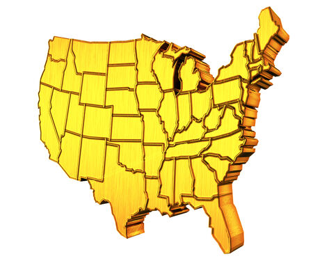 USA map 3D gold with states photo