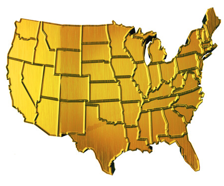 USA Map D Gold With States Stock Photo Picture And Royalty Free - Map of gold in the us