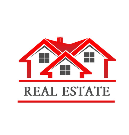 real estate icons: Real estate house company card vector