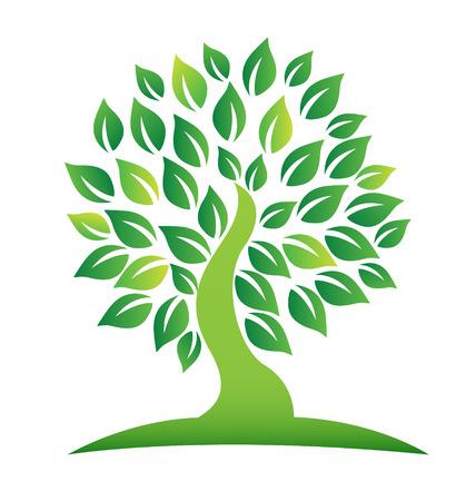 sfondo giungla: Vettoriale di icona albero verde Vettoriali