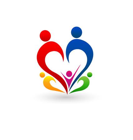 familias unidas: Concepto de familia del icono del vector