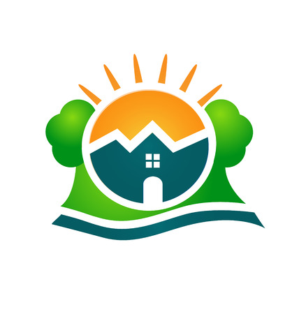 green roof: Real estate house company card vector icon