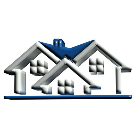 Real estate blue houses 3D  photo