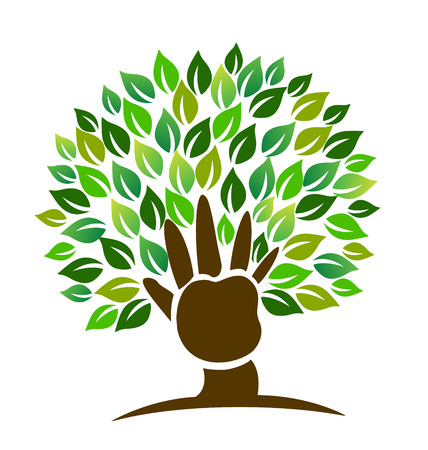 Tree hand and leafs icon vector Vector