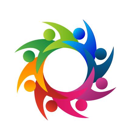 Personas Trabajo en equipo unión vector icon