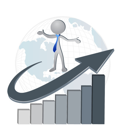 recursos financieros: Hombre de negocios en un éxito de los gráficos estadísticos