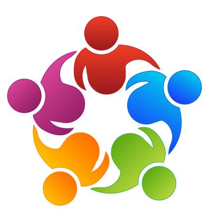 retratos: Icono de socios de trabajo, Trabajo en equipo vector Vectores