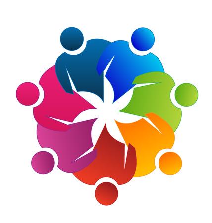 Teamwork reunion vector icon Illustration