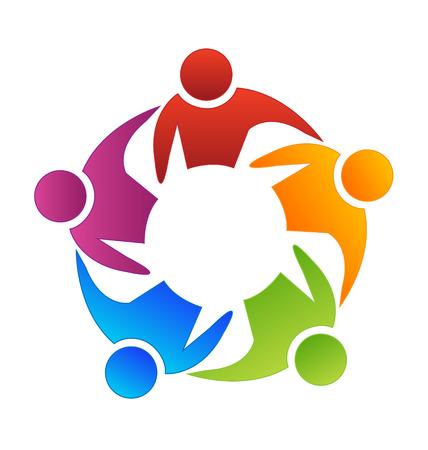 comunidades: Trabajo en equipo icono vector de la diversidad