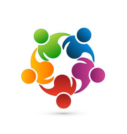Travail d'équipe en réseau vecteur icône Illustration