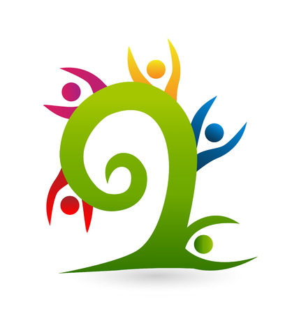 Swirly tree teamwork people icon vector Vector