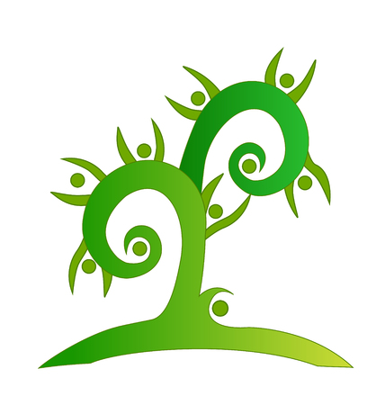 Green swirly tree teamwork vector Vector