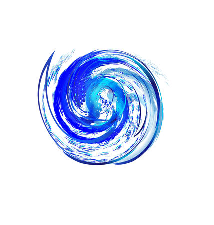 Swirly splash wave with drops of water Vector